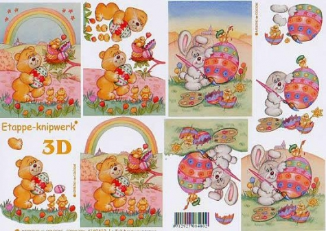 3D Bogen - A4 - Le Suh 4169412 - Osterbär und -Hase