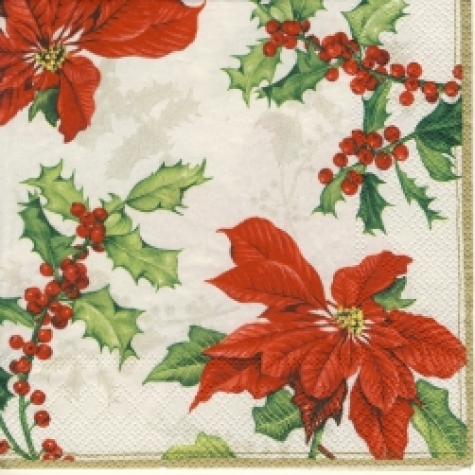Servietten Floral Christmas white