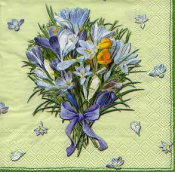 Serviette Crocus Bouquet light green