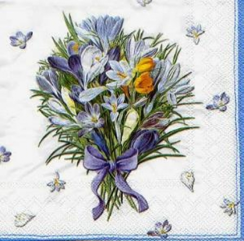 Serviette Crocus Bouquet white