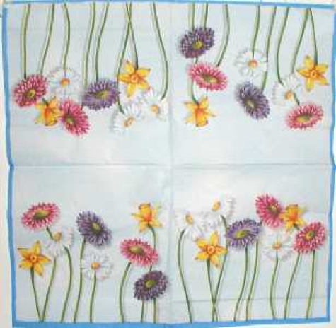 Serviette Cut Flowers light blue