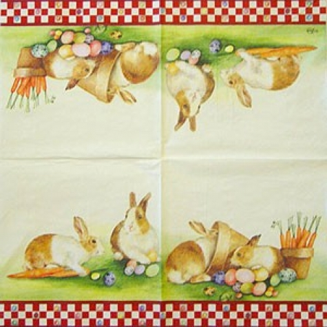 Serviette Hidding rabbit red