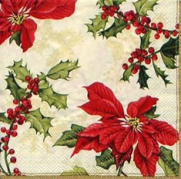 Servietten Floral Christmas cream