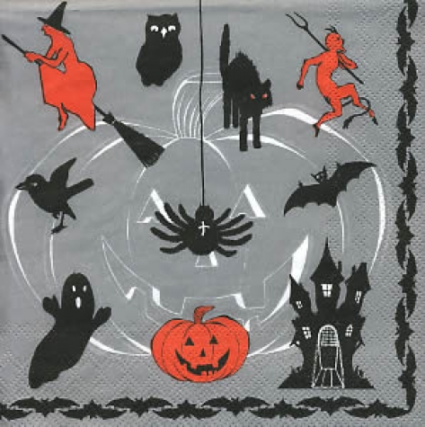Serviette Trick or Treat grey