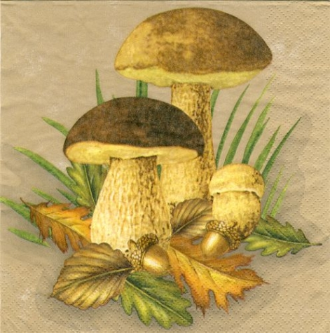Serviette Mushrooms - beige