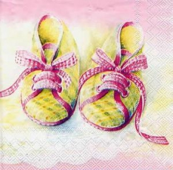Servietten Baby shoes rose