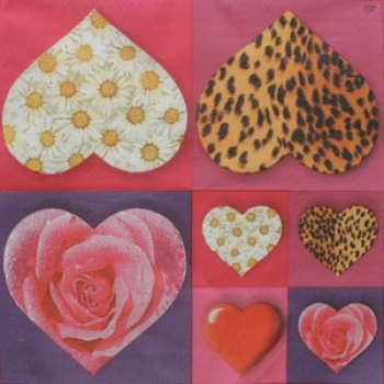 Servietten Crazy Hearts pink