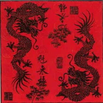 Serviette Dragon red