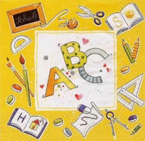 Serviette ABC - gelb