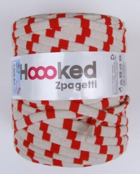 Zpagetti Trend, creme-rot gestreift, 120 Meter