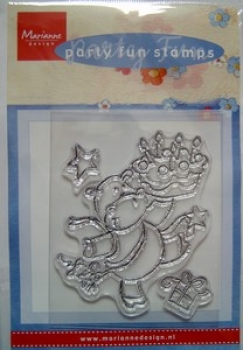 Clear Stamp - Party Fun - Nilpferd mit Geburtstagstorte