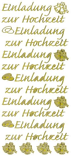 Sticker Einladung Zur Hochzeit   Gold U003cbru003e 1 Bogen 10x23 Cm