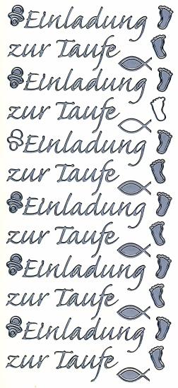 Sticker Einladung Zur Taufe   Silber U003cbru003e 1 Bogen 23x10 Cm