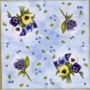 Serviette Pansy Bouquet light blue