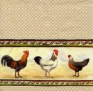 Serviette Chicken Parade cream
