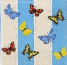 Servietten Butterfly & Stripes aqua/sand