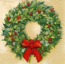 Servietten Red berry wreath, cream